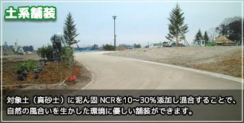 対象土(真砂土)に泥ん固 NCRを10〜30%添加し混合することで、自然の風合いを生かした環境に優しい舗装ができます。